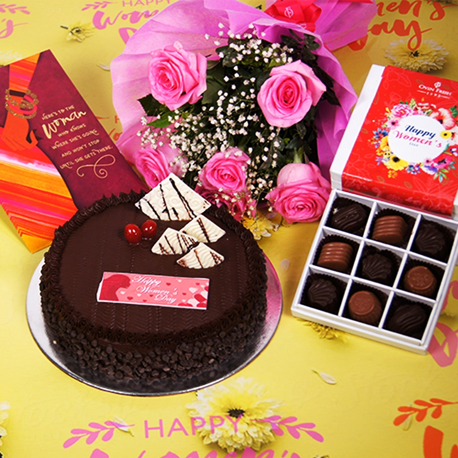 Womens day Chocolate Chip dutch truffle 500gms with card,Bouquet of 6 Pink roses,box of 9 chocolate pralines