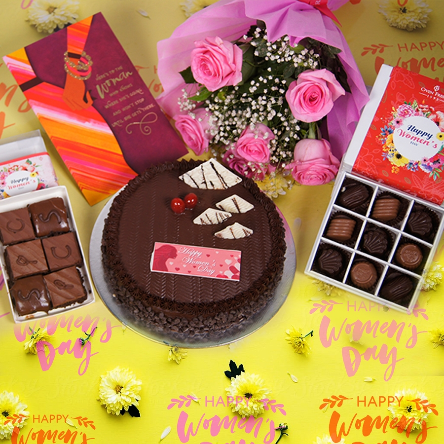 Womens day Chocolate Chip dutch truffle 500gms with card,Bouquet of 6 Pink roses,box of 9 chocolate pralines,box of 6pc brownies