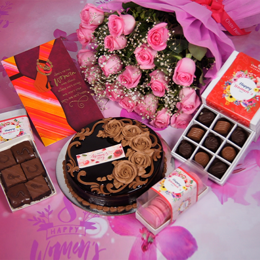 womens Day Chocolate dutch truffle birthday cake 500gms With Card & Bouquet of Pink Flower & 9 Box Chocolate Pralines & Box of 6pc brownies & box of 5 macaroons