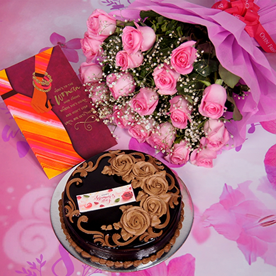 Womens Day Chocolate dutch truffle birthday cake 500gms With Card & Bouquet of Pink Flower