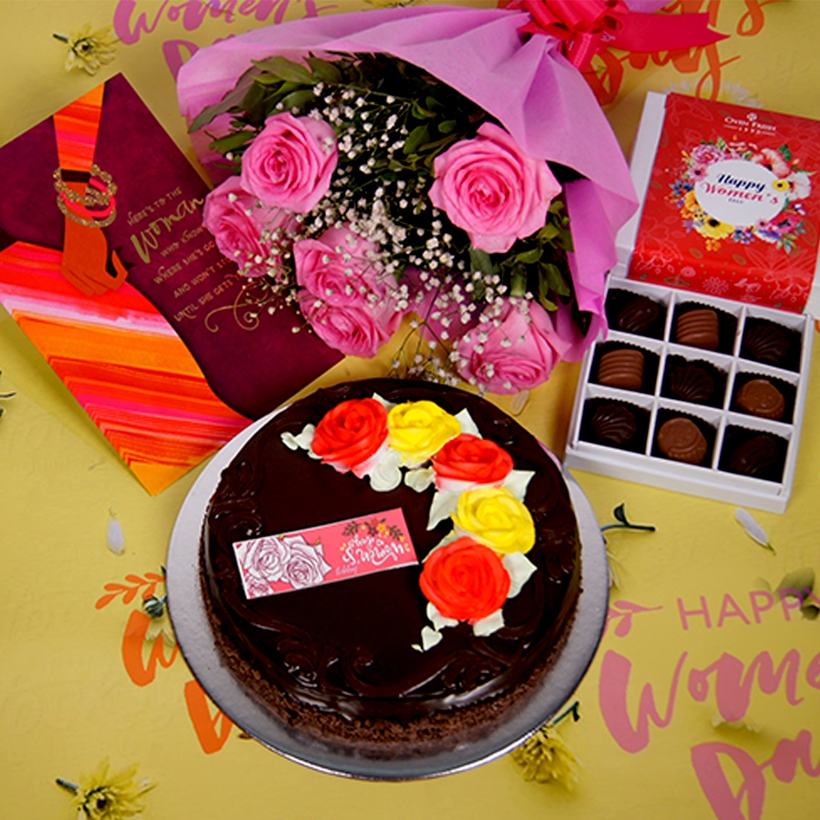 Womens day Chocolate dutch truffle celebration 500gms with card ,Bouquet of 6 Pink roses ,box of 9 chocolate pralines .