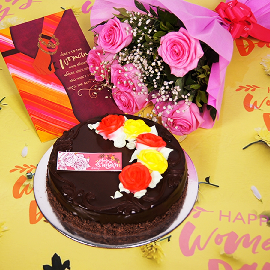 Womens day Chocolate dutch truffle celebration 500gms with card ,Bouquet of 6 Pink roses.