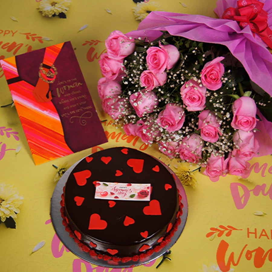 Womens day Chocolate dutch truffle love 500gms with card , Bouquet of pink roses
