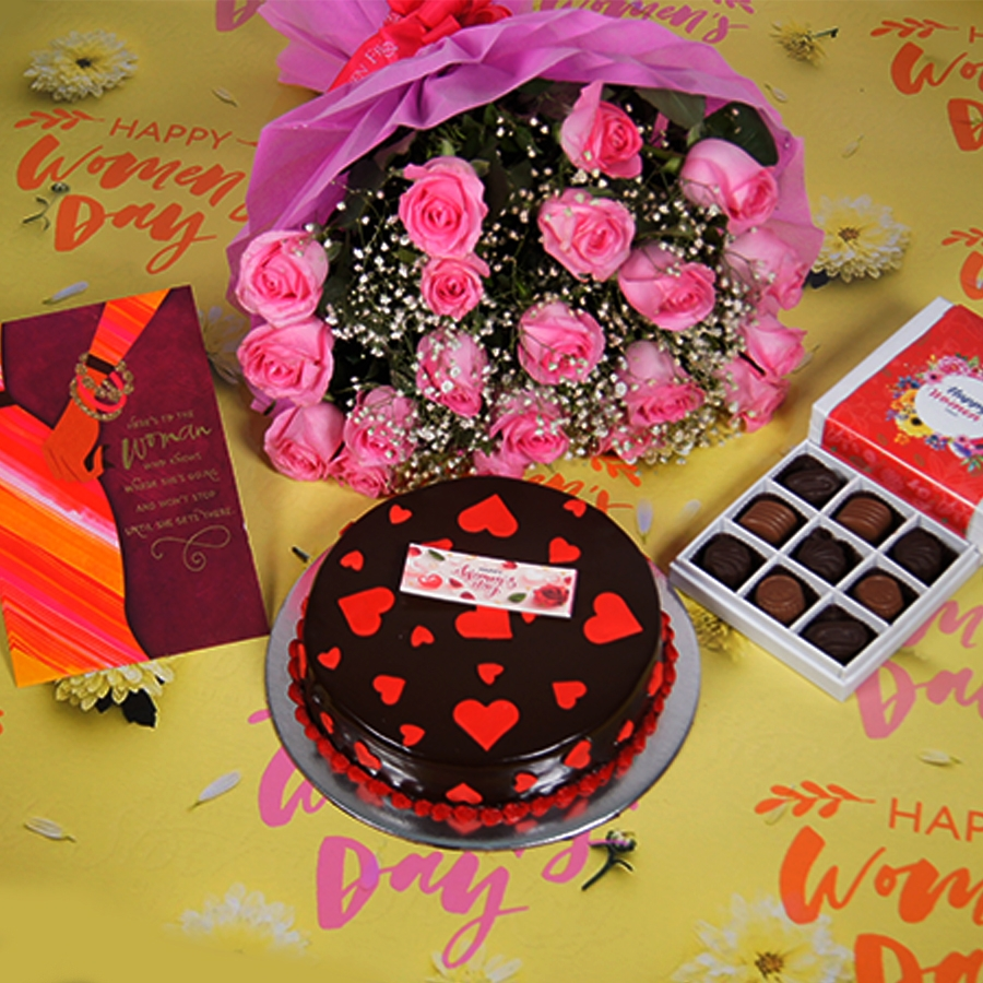 Womens day Chocolate dutch truffle love 500gms with card , Bouquet of pink roses,box of 9 chocolate pralines.