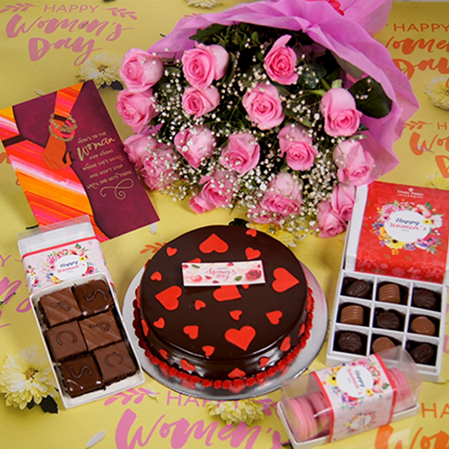 Womens day Chocolate dutch truffle love 500gms with card , Bouquet of pink roses,box of 9 chocolate pralines,box of 6 pc brownies,box of 5 macaroons