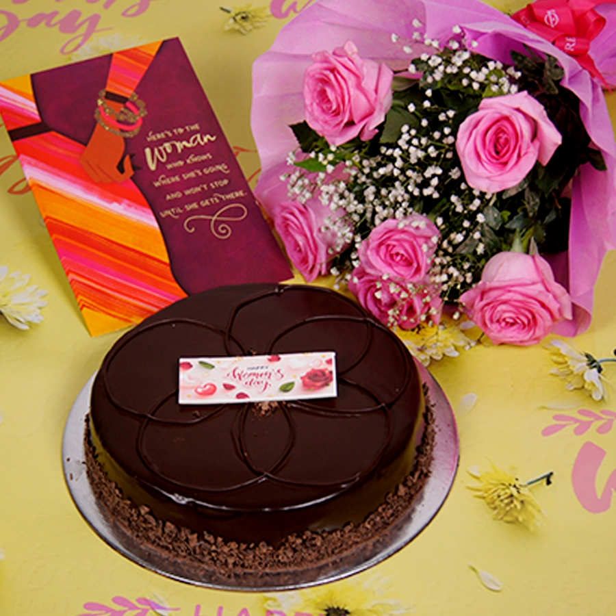 Womens day Chocolate dutch truffle shine  500gms with card,Bouquet of 6 Pink roses