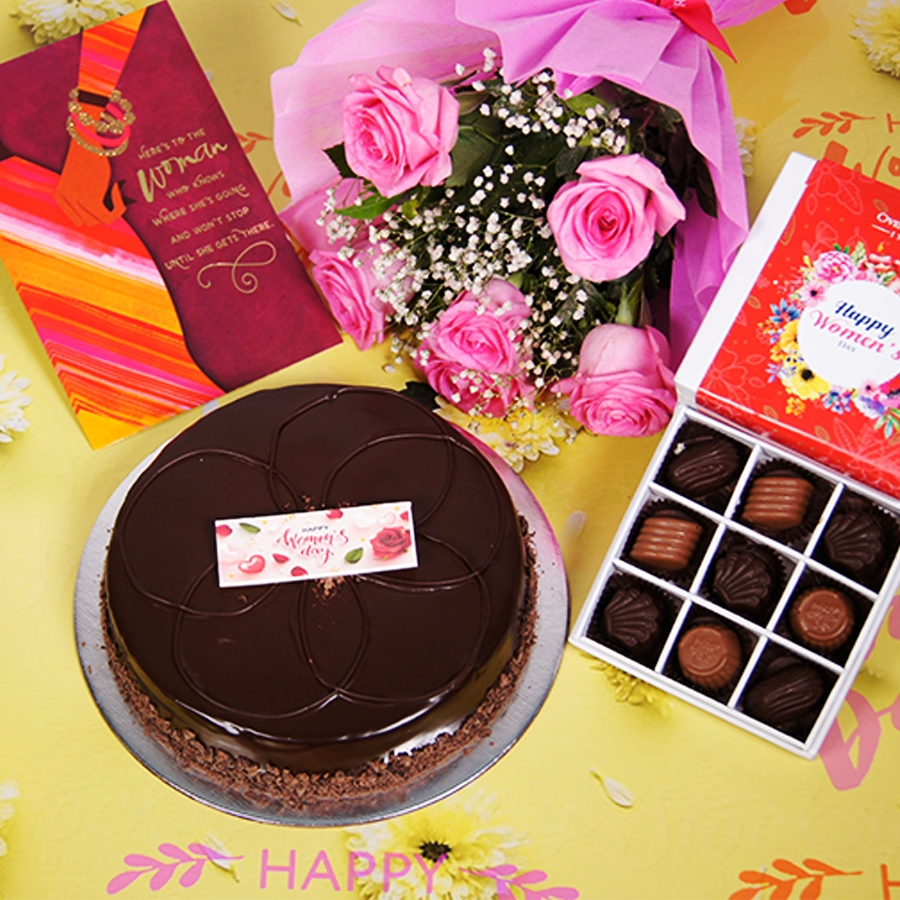 Womens day Chocolate dutch truffle shine  500gms with card,Bouquet of 6 Pink roses,box of 9 chocolate pralines