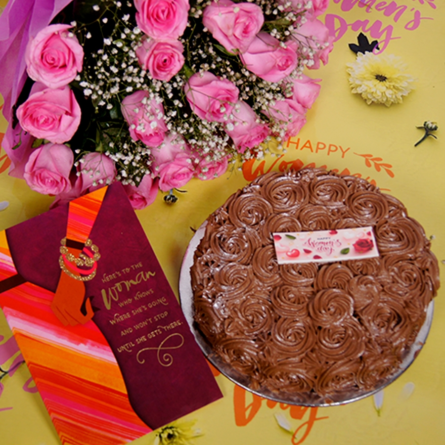 Womens day Chocolate dutch truffle swirls 500gms with card , Bouquet of pink roses