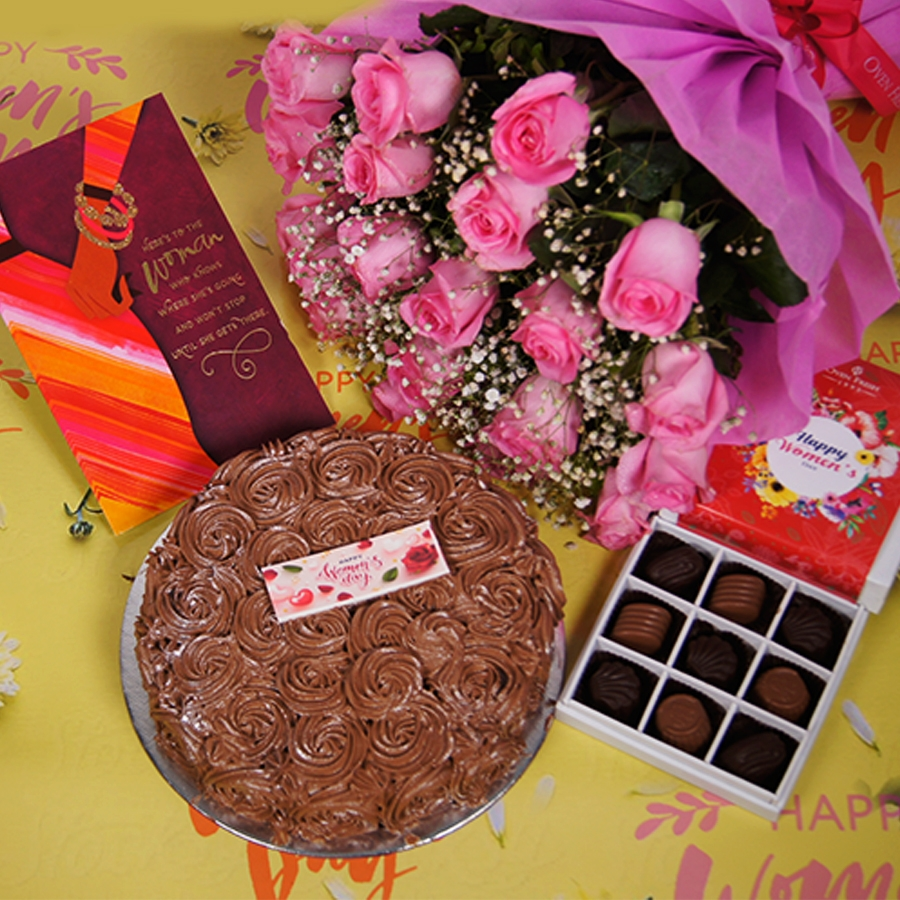 Womens day Chocolate dutch truffle swirls 500gms with card , Bouquet of pink roses,box of 9 chocolate pralines