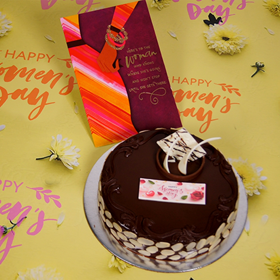 Womens day Chocolate dutch truffle with almonds 500gms with card
