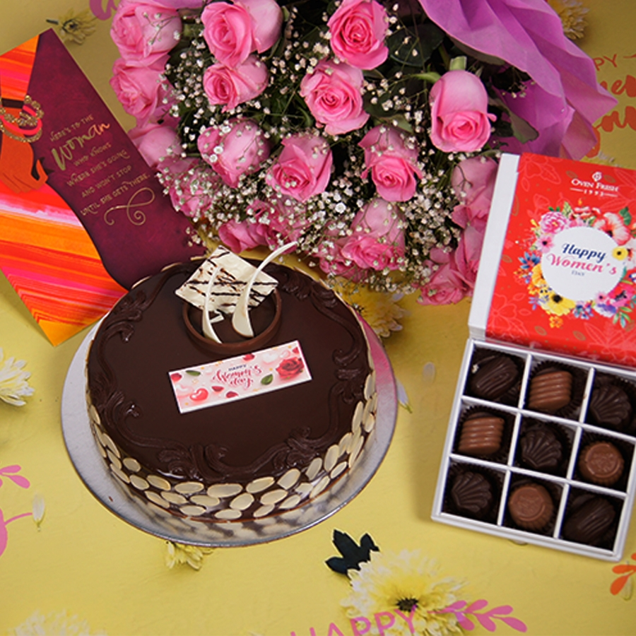 Womens day Chocolate dutch truffle with almonds 500gms with card,Bouquet of pink roses,box of 9 chocolate pralines