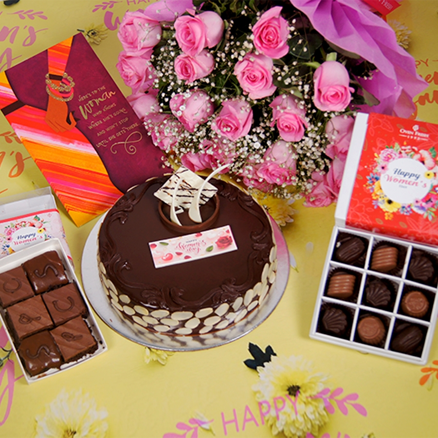 Womens day Chocolate dutch truffle with almonds 500gms with card,Bouquet of pink roses,box of 9 chocolate pralines,box of 6pc brownies