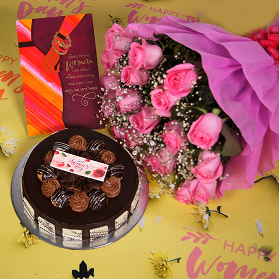 Womens day Chocolate dutch truffle with choux bun 500gms with card,Bouquet of pink roses