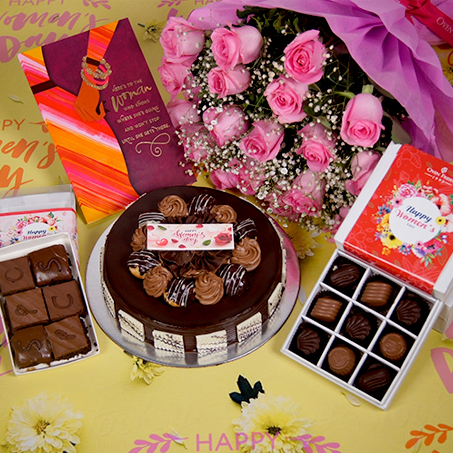 Womens day Chocolate dutch truffle with choux bun 500gms with card,Bouquet of pink roses,box of 9 chocolate pralines,box of 6pc brownies