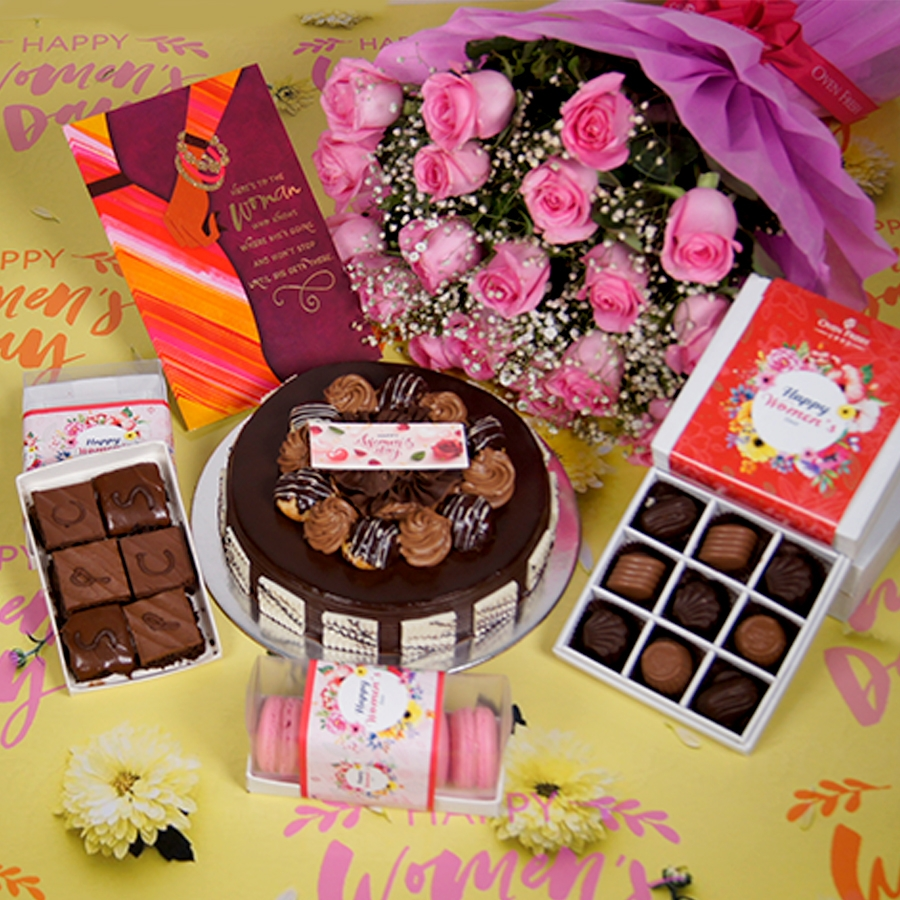 Womens day Chocolate dutch truffle with choux bun 500gms with card,Bouquet of pink roses,box of 9 chocolate pralines,box of 6pc brownies,box of 5 macaroons