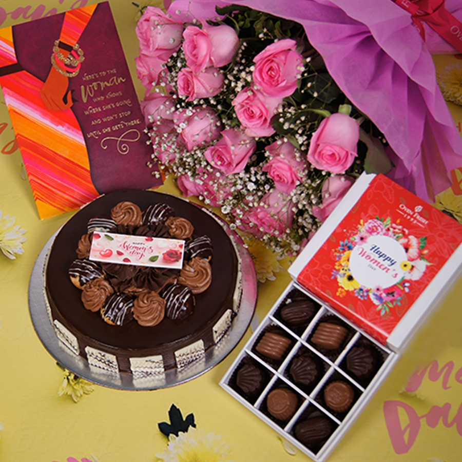 Womens day Chocolate dutch truffle with choux bun 500gms with card,Bouquet of pink roses,box of 9 chocolate pralines