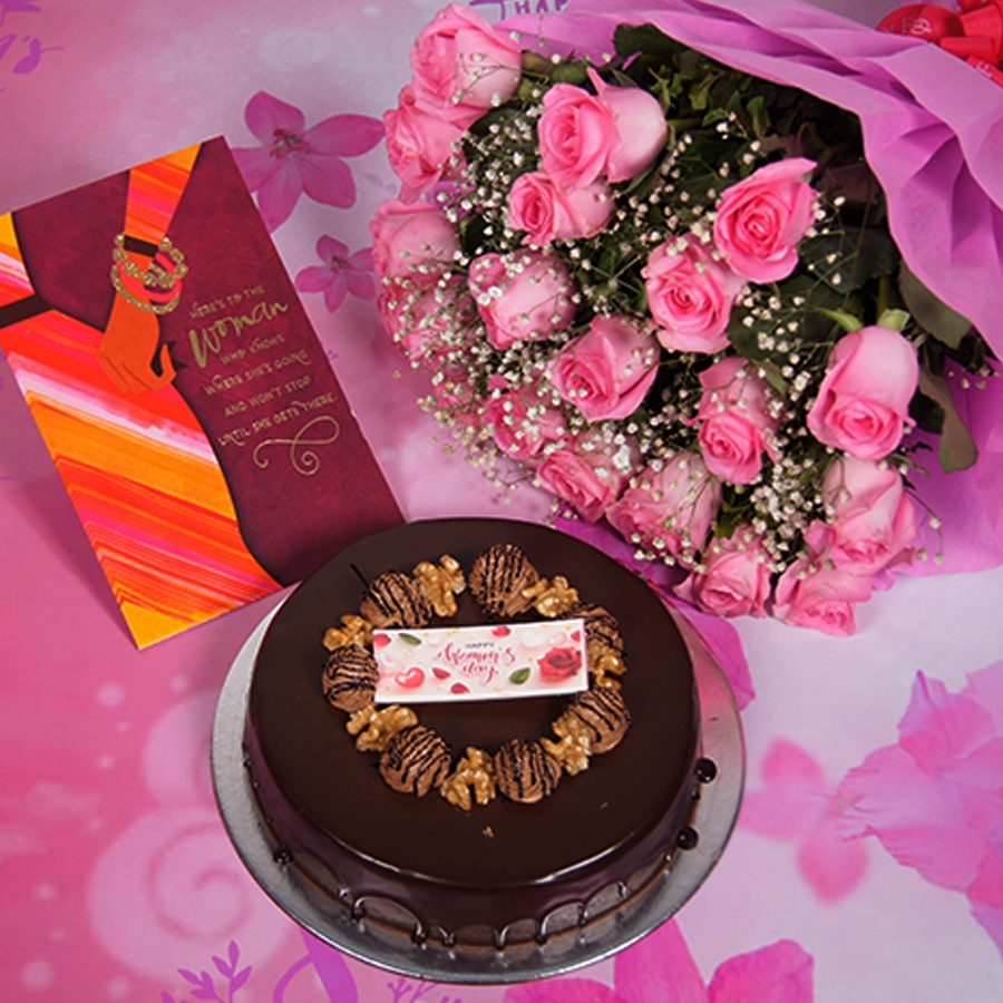 Womens Day Chocolate walnut dutch truffle cake 500gms  with card,Bouquet of pink roses