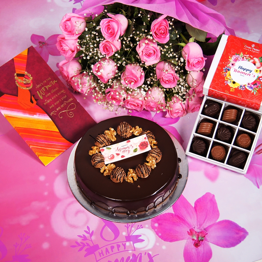 Womens Day Chocolate walnut dutch truffle cake 500gms  with card,Bouquet of pink roses,box of 9 chocolate pralines
