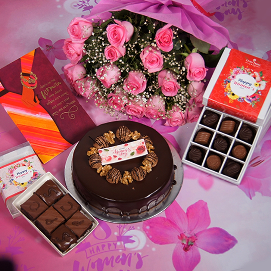 Womens Day Chocolate walnut dutch truffle cake 500gms  with card,Bouquet of pink roses,box of 9 chocolate pralines,box of 6pc brownies