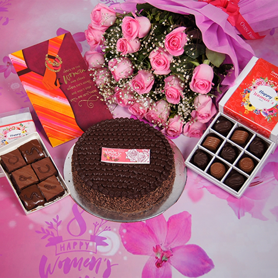 womens Day Dutch truffle classic cake 500gms With Card & Bouquet of Pink Flower & 9 Box Chocolate Pralines & Box of  6pc brownies