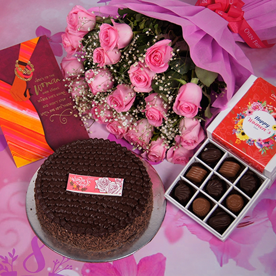 womens Day Dutch truffle classic cake 500gms With Card &  Bouquet of Pink Flower & 9 Box Chocolate Pralines