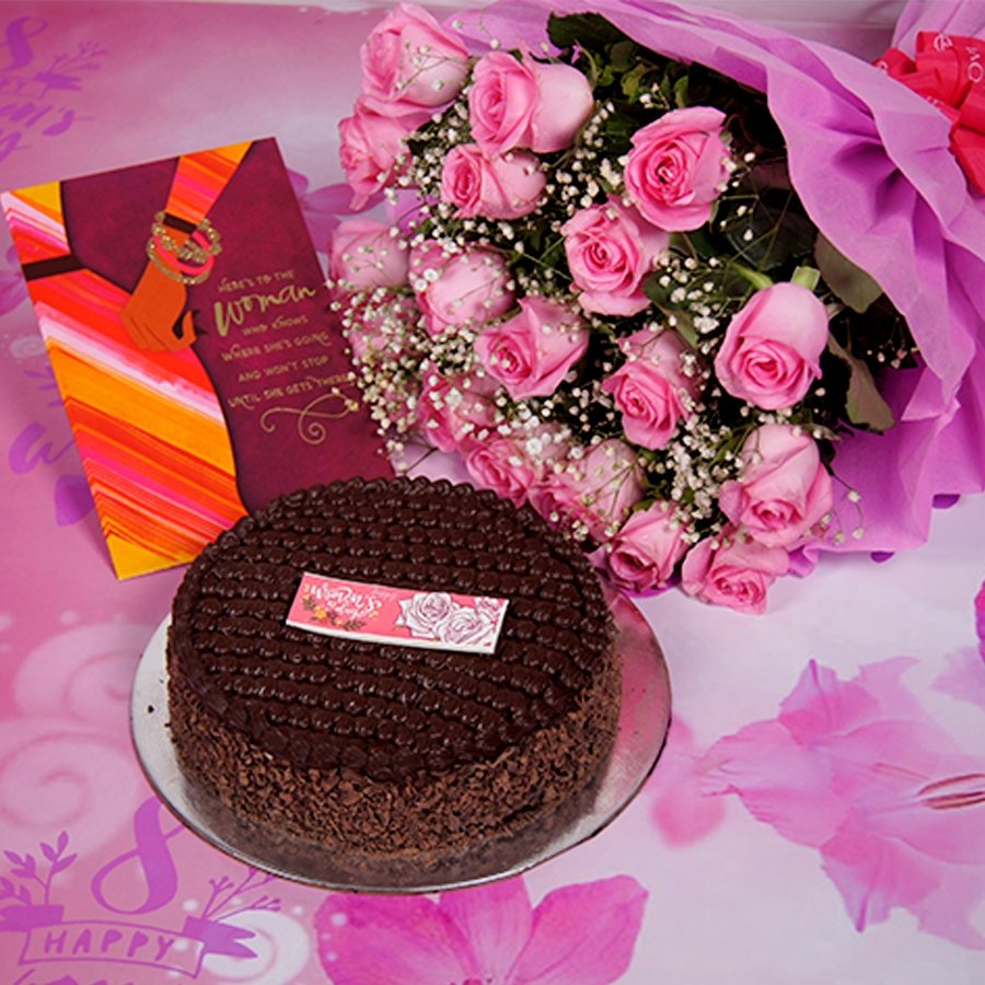 womens Day Dutch truffle classic cake 500gms With Card &  Bouquet of Pink Flower
