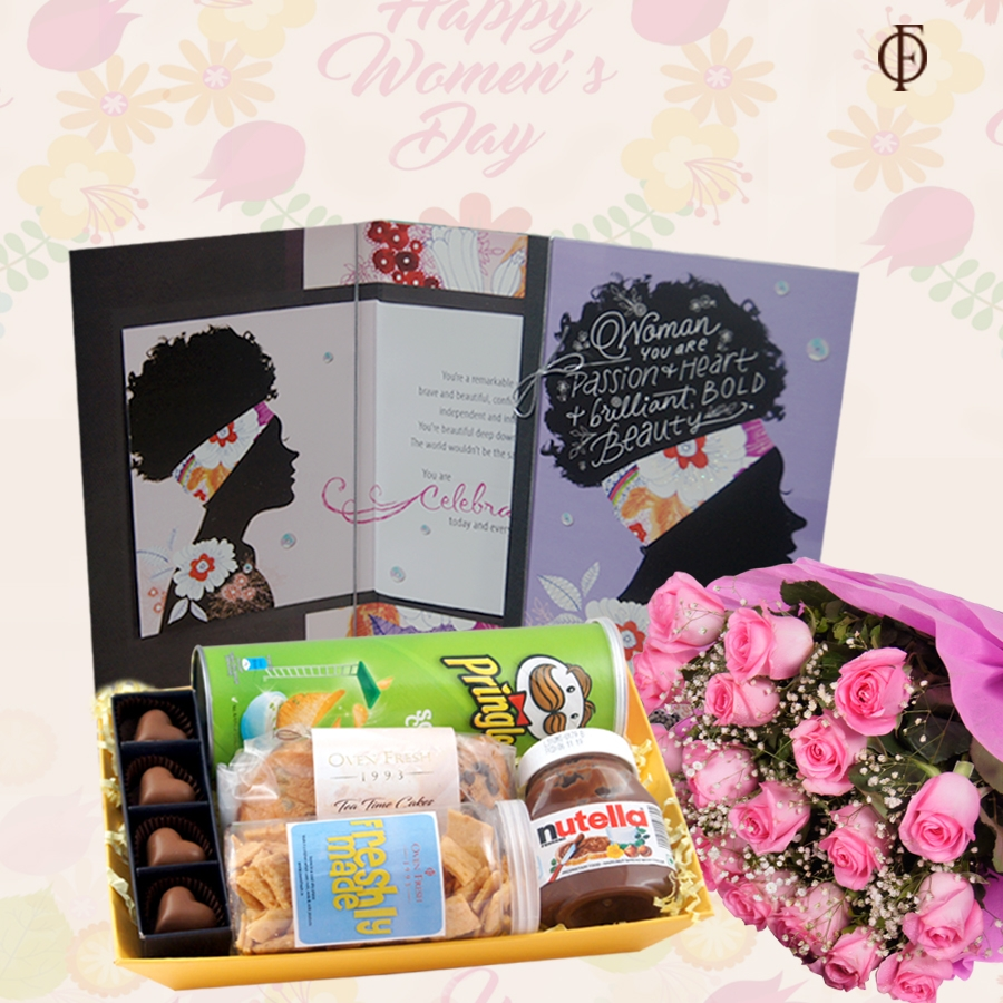 Woman's  Day GT 008 with Card and Bouquet of 20 pink roses
