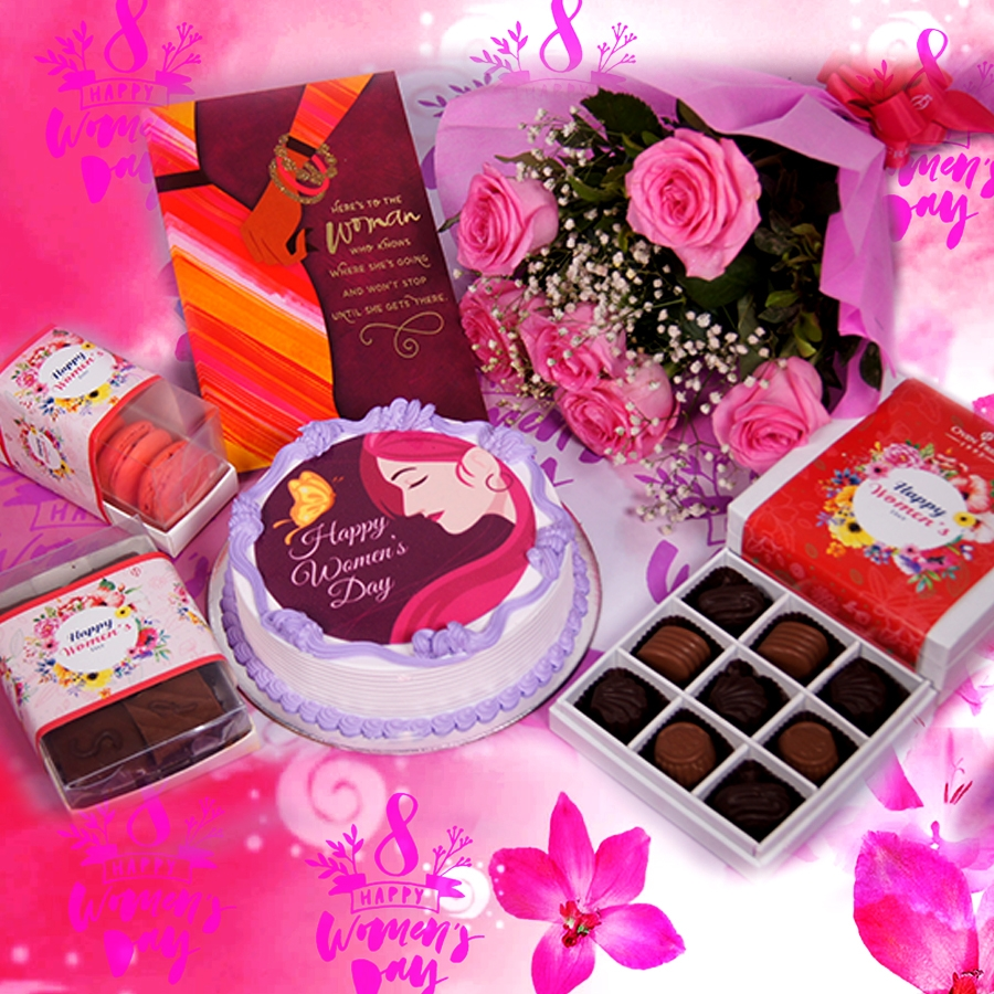 Womens day purple and pink  photo cake 500gms with card ,Bouquet of 6 Pink roses ,box of 9 chocolate pralines , 6 pc assorted Brownie and  box of 5macaroons