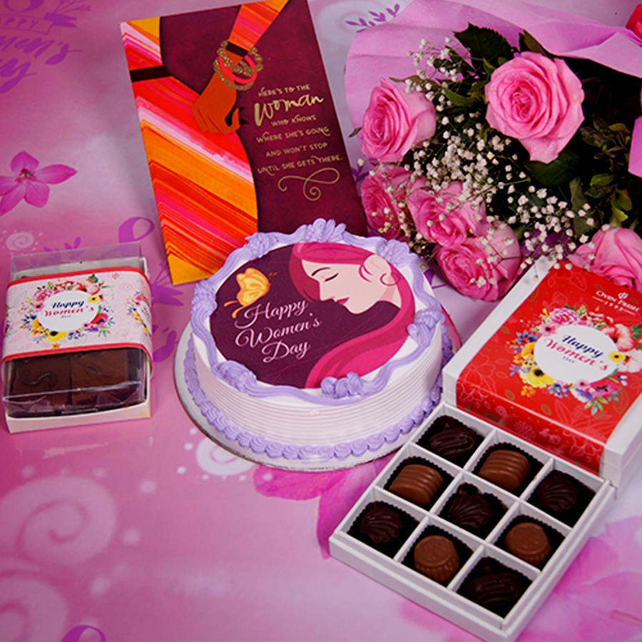 Womens day purple and pink photo cake 500gms with card ,Bouquet of 6 Pink roses ,box of 9 chocolate pralines , 6 pc assorted Brownie .