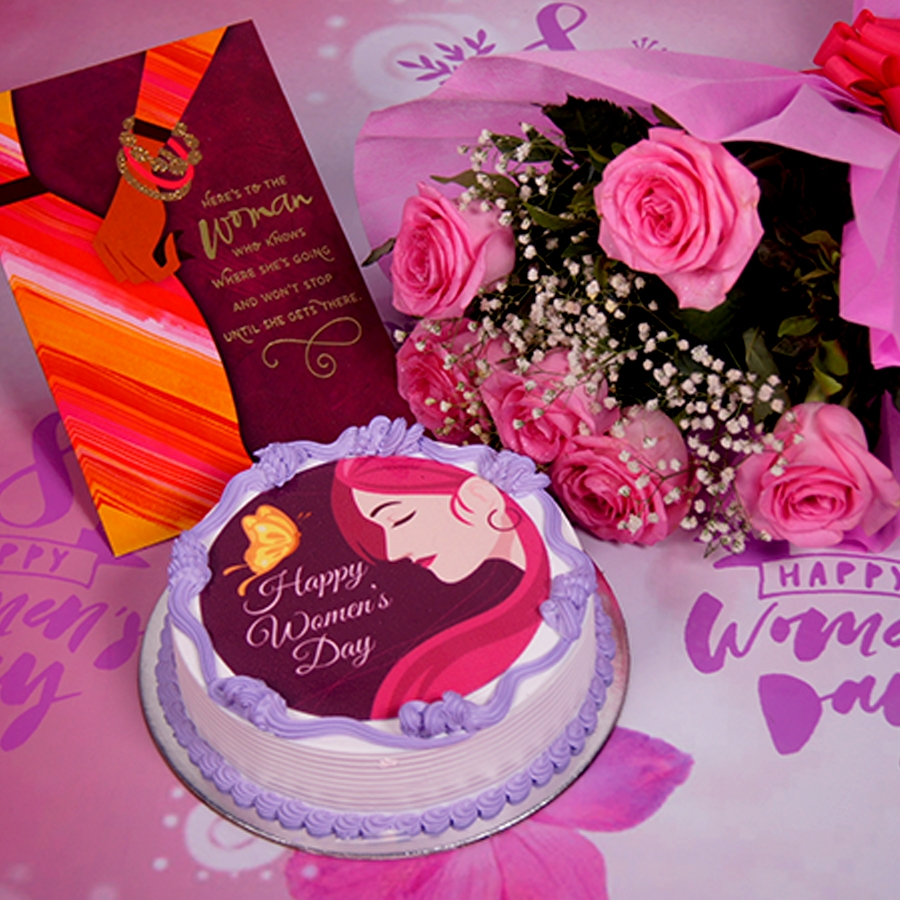 Womens day purple and pink photo cake 500gms with card ,Bouquet of 6 Pink roses .