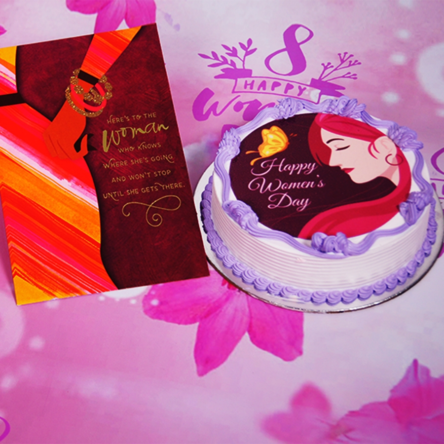 Womens day purple and pink photo cake 500gms with card.