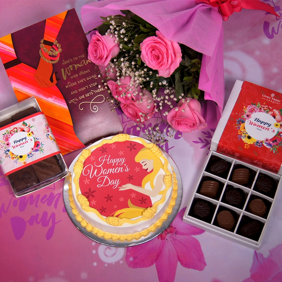 Womens day red  and yellow photo cake 500gms with card ,Bouquet of 6 Pink roses ,box of 9 chocolate pralines and 6 pc assorted Brownie