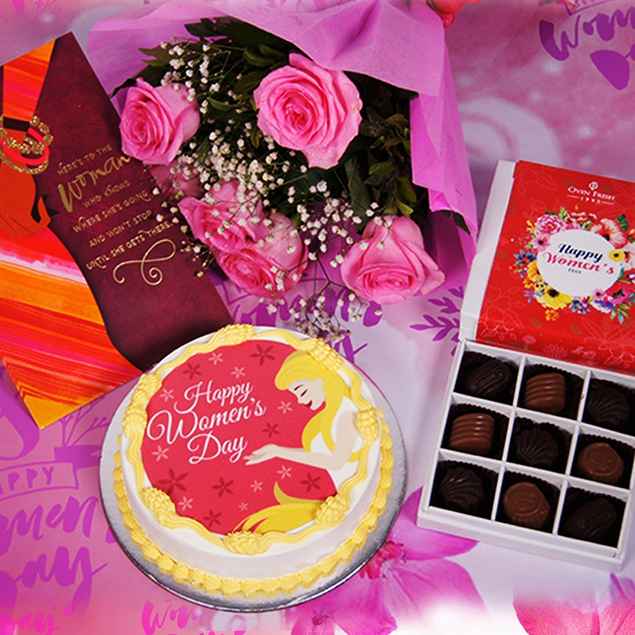 Womens day red and yellow photo cake 500gms with card ,Bouquet of 6 Pink roses ,box of 9 chocolate pralines .