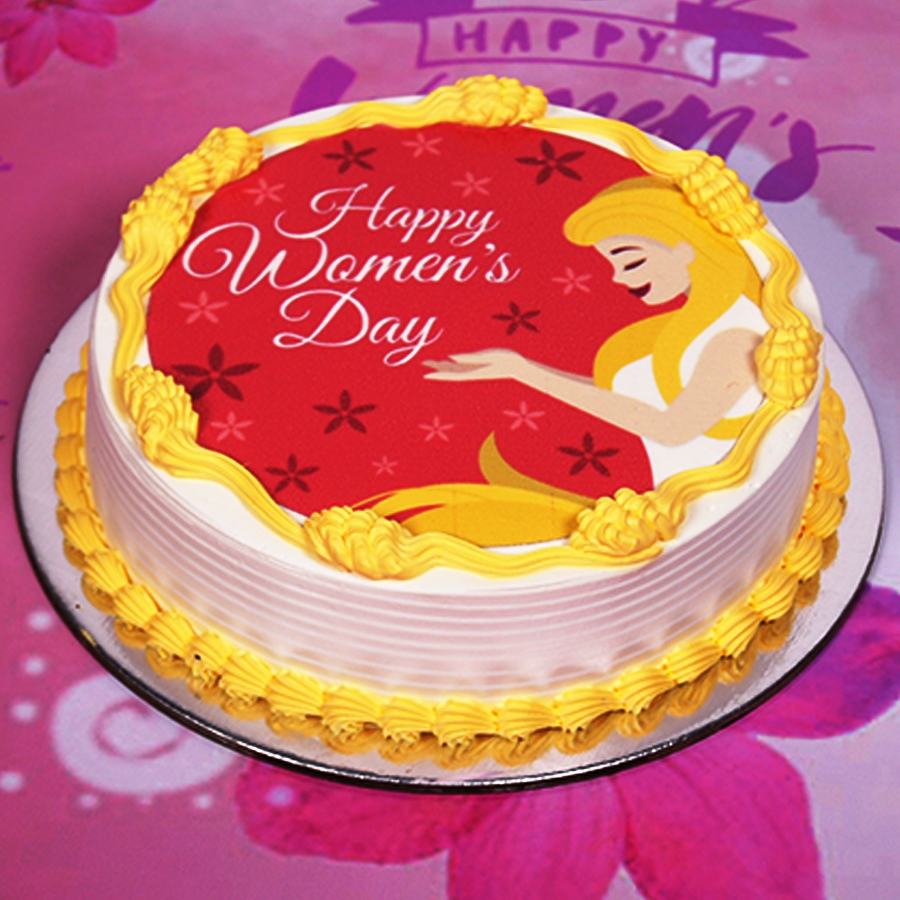 Womens day red  and yellow photo cake 500gms