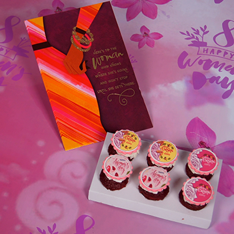 Women's day special red velvet cup cakes with card