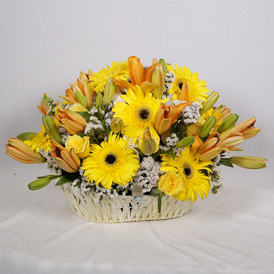 yellow Gerberas  and  orange lillies